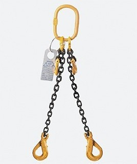 TWO LEG CHAIN SLINGS WITH SHORTENING GRAB HOOK & SELF LOCKING HOOK
